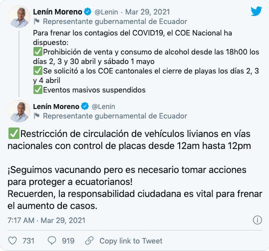 Restricciones feriado abril 2021